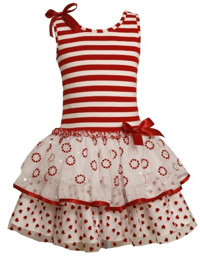 Bonnie Jean LITTLE GIRLS 4-6X RED WHITE STRIPED FLOCK HEART MIXED TIERS Special Occasion Valentine Party Dress