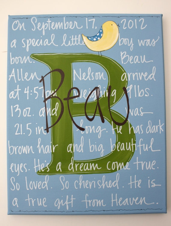 Baby BOY handpainted personalized birth canvas by staceyfoster, $45.00