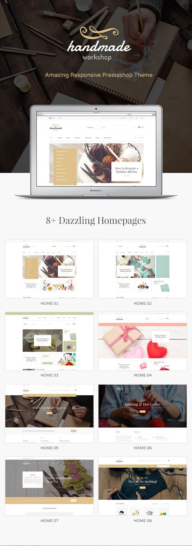 Handmade - Amazing Responsive Prestashop Theme Template #eCommerce Download here: http://themeforest.net/item/handmade-amazing-responsive-prestashop-theme/15568960?s_rank=1&ref=yinkira