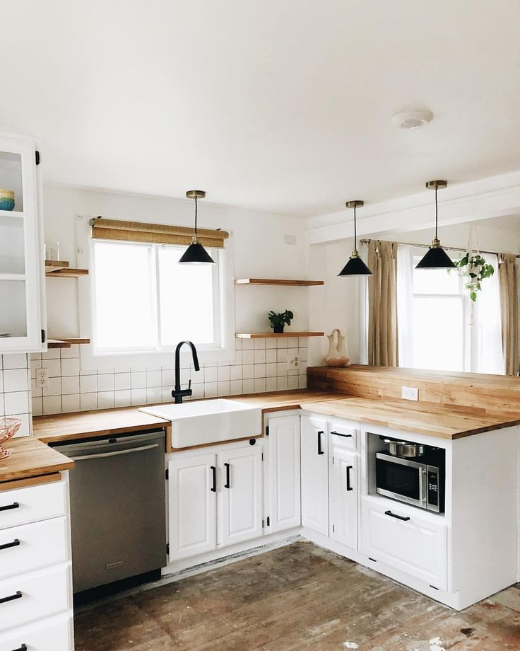 White Natural Colors Kitchen Wood Countertops Subway Tile