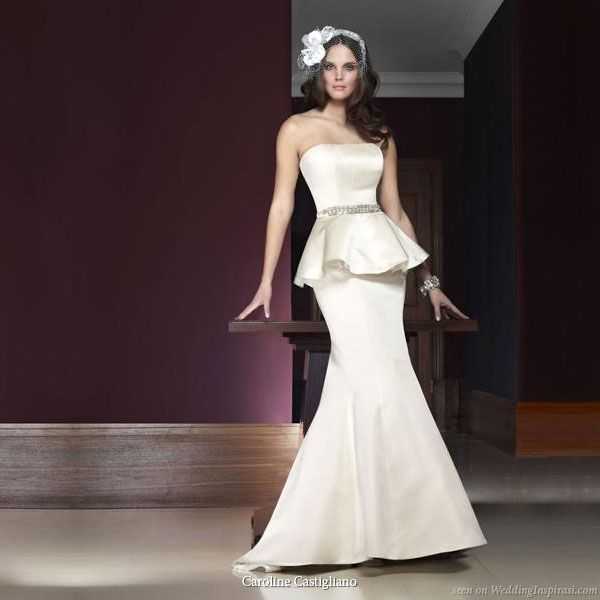 Paris, silk duchess satin fishtail gown with detachable peplum and handcrafted beaded belt.