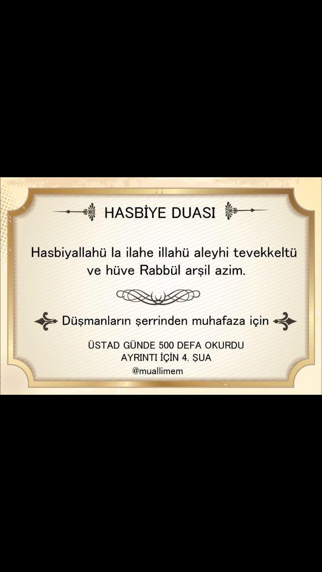 hasbiye duası