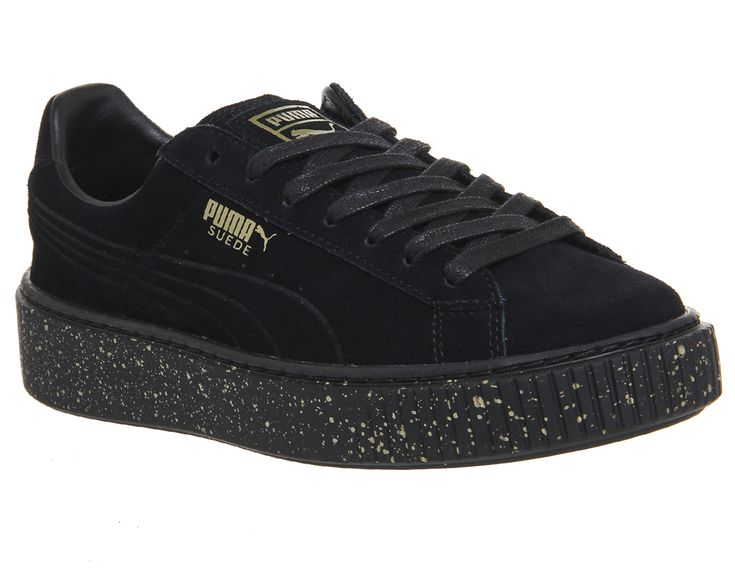 Puma Suede Platforms Gold Splatter Black