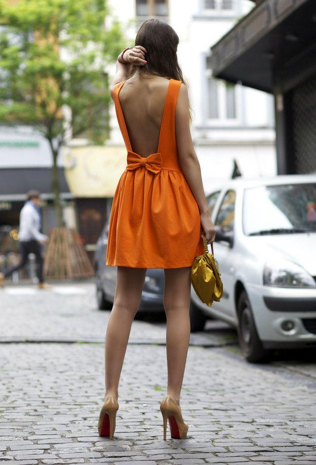 orange back bow summer dress