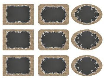 Editable Burlap & Chalkboard labels