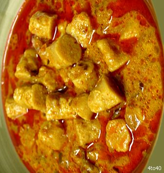 Ghatte ki Subzi - Rajasthani specialty gram flour dumplings cooked in a yogurt gravy.