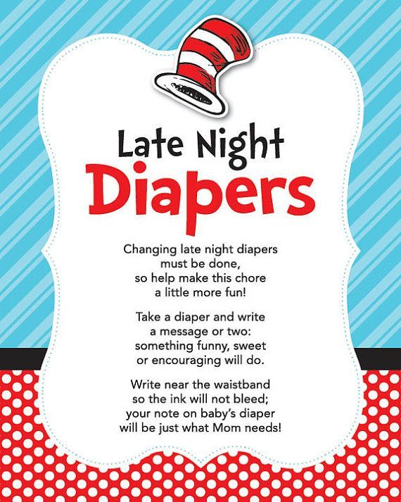 BABY SHOWER~Instant Download Dr. Seuss Late Night Diapers, 8x10 Seuss Diaper Thoughts, Cat…