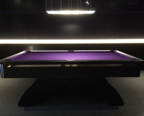 Bespoke 7ft arched contemporary UK pool table in brushed aluminium painted black and chrome strip.  Shop here: http://www.snookerandpooltablecompany.com/pool-tables/uk-pool-tables/contemporary-bespoke-uk-pool-tables/arched-contemporary-uk-pool-table-black-chrome.html