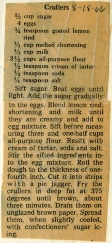 Crullers. :: Historic Recipe