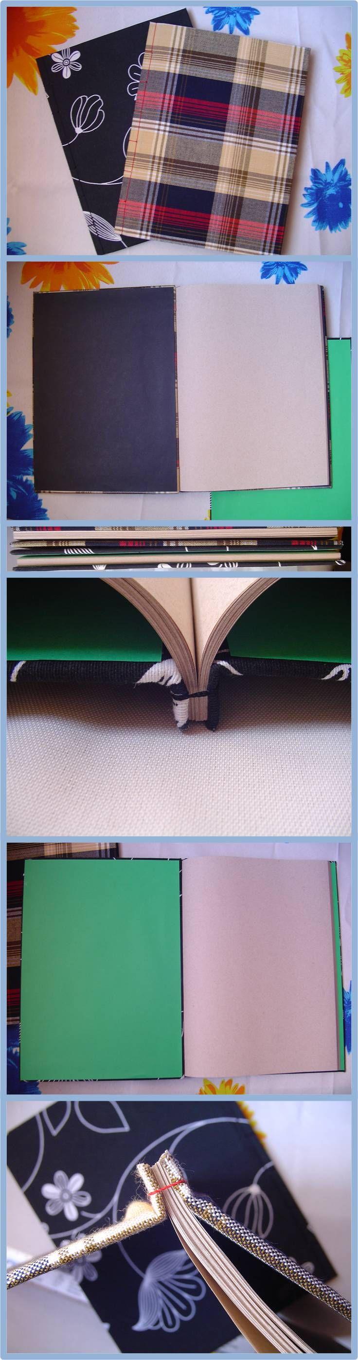 Cuaderno hecho a mano, cosido japonés, hojas recicladas. *** Book binding, crafts, notebook