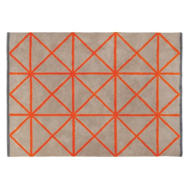 GRID Large taupe and orange rug 170 x 240cm