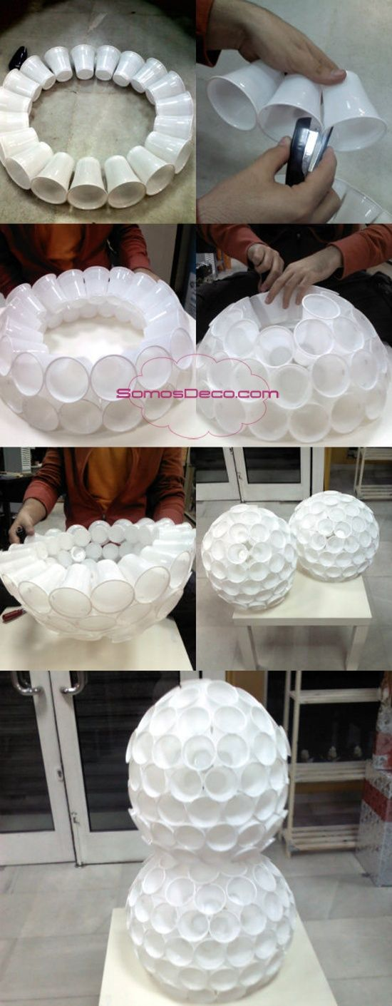 Plastic cups stapled together to make a ball 7th art for Snowman made out of cups
