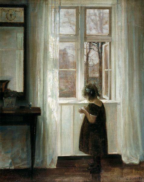 Little Girl at a Window, Carl Holsoe. Danish (1863-1935). Pequeña Nina en la Ventana, por Carl Holsoe, Pintor Danes.