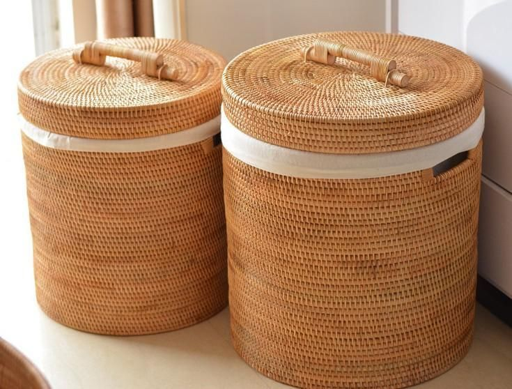 Large Hand Woven Clothes Basket With Cover Large Woven Basket Vietnam Round Basket Large Woven Basket Home Decor Baskets Clothes Basket