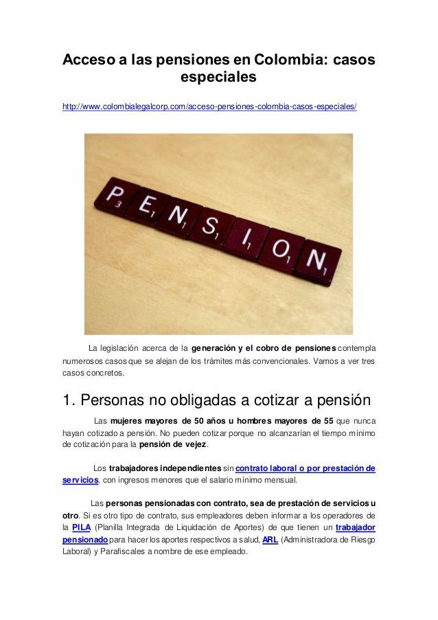 Acceso a las pensiones en Colombia: casos especiales