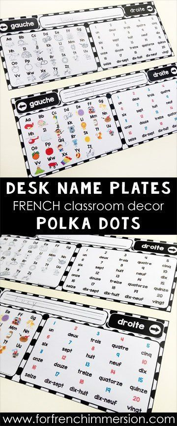 French Classroom Decor Polka Dots: desk name plates. A beautifully-decorated French classroom with little to no color ink use! Desk name plates for the French classroom, in color and B&W (you can type in students' names!)