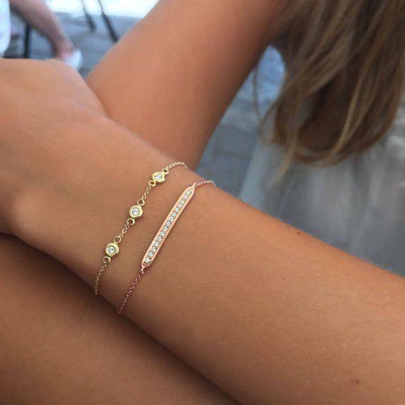 Yellow Gold Bracelet Tennis Bracelet Thin Gold Diamond Bracelet Gold Bracelet For Women Thin Gold Bracelet Bracelets Gold Diamond