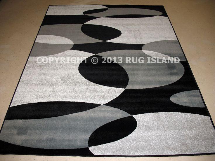 5x8 5 X 7 Modern Contemporary Abstract Black Silver Gray Decor Area Rug