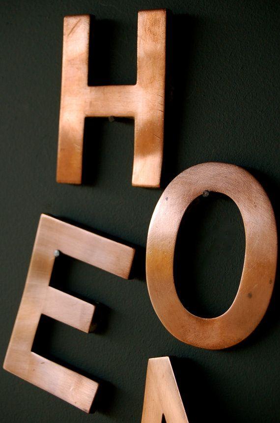 Antique Copper Letter Vintage Sign Letter Copper
