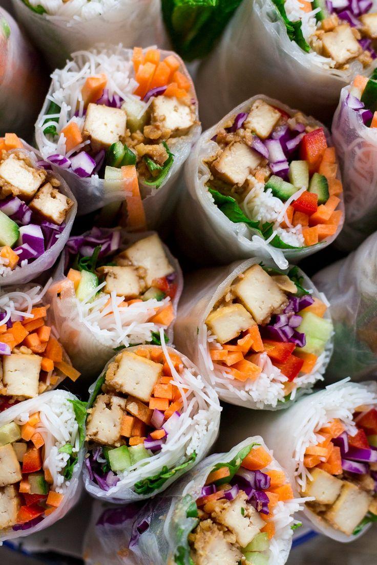Peanut tofu rice paper rolls - Lazy Cat Kitchen