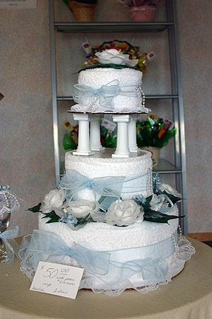 Towel Wedding Cake Centerpiece   towel cake 5000 up ideas for bridal showers