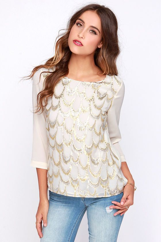 Gilded City Gold and Cream Top//