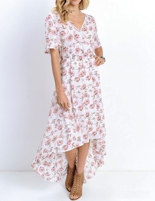 SOUTHERN GIRL FASHION $68 Floral Printed Maxi Dress High Low Bohemian Swing Gown #Boutique #Maxi #Casual