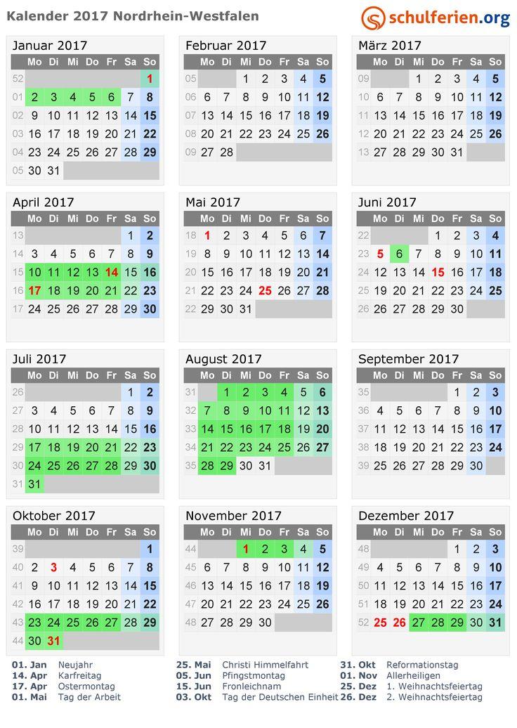 Kalender 2017 mit Ferien und Feiertagen Nordrhein-Westfalen
