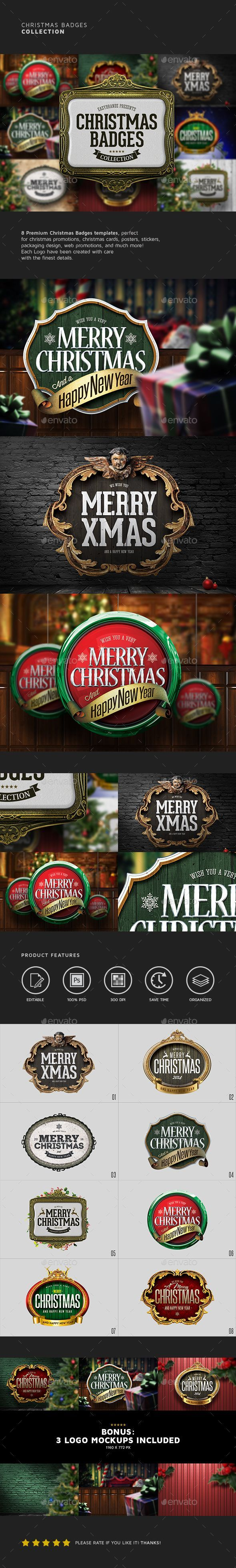 Christmas Badges Collection #design Download: http://graphicriver.net/item/christmas-badges-collection/13917431?ref=ksioks