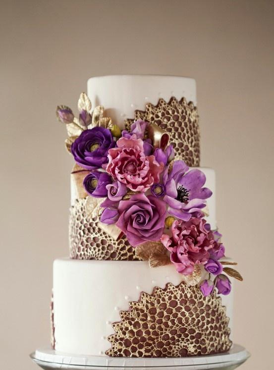 Indian Weddings Inspirations. Purple Wedding Cake. Repinned by #indianweddingsmag indianweddingsmag.com: Wild Orchids, Purple Flowers, Glamorous Wedding, Wedding Cakes, Cakes Design, Purple Cakes, Gold Wedding, Cakes Wedding, Sugar Flowers