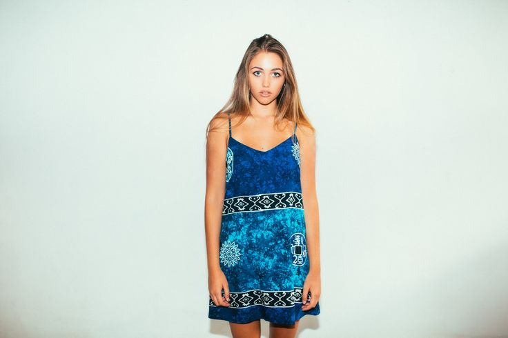 Her Pony Far Out Collection. Blue tie dye batik print festival clothing. Summer style. Cami dress.