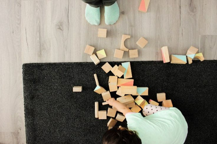 Houten blokken verven   DIY - ministijl