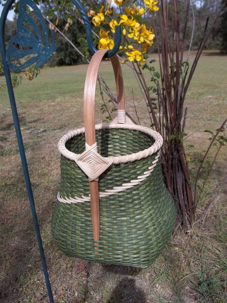Green Hand Made Woven Cat Head Basket with Gods Eye Handles