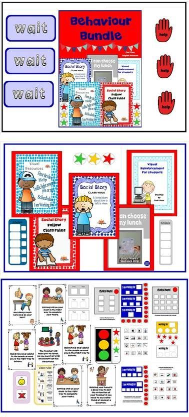 BEHAVIOUR BUNDLE (for students with Autism) - Token rewards, social stories,first and then, traffic light working for, visual supports for food choice, help, yes/no, wait and much more! Save $ by purchasing behaviour products in one bundle like this