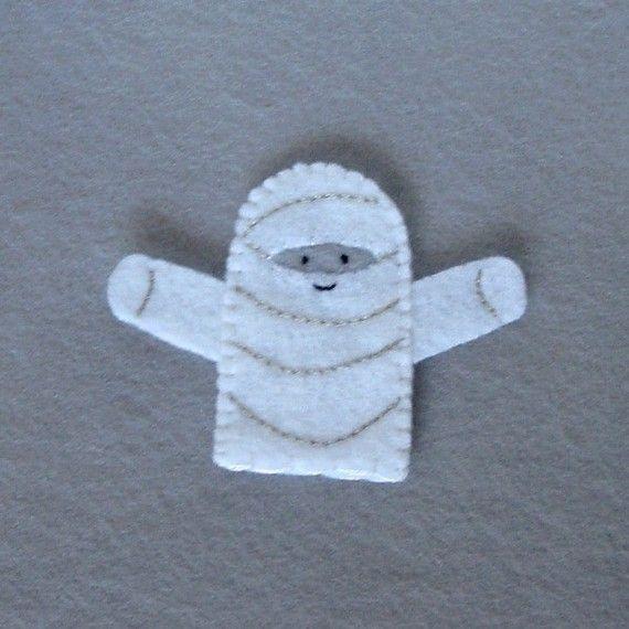 Mummy Finger Puppet  Halloween Puppet  Felt Finger by cherylasmith