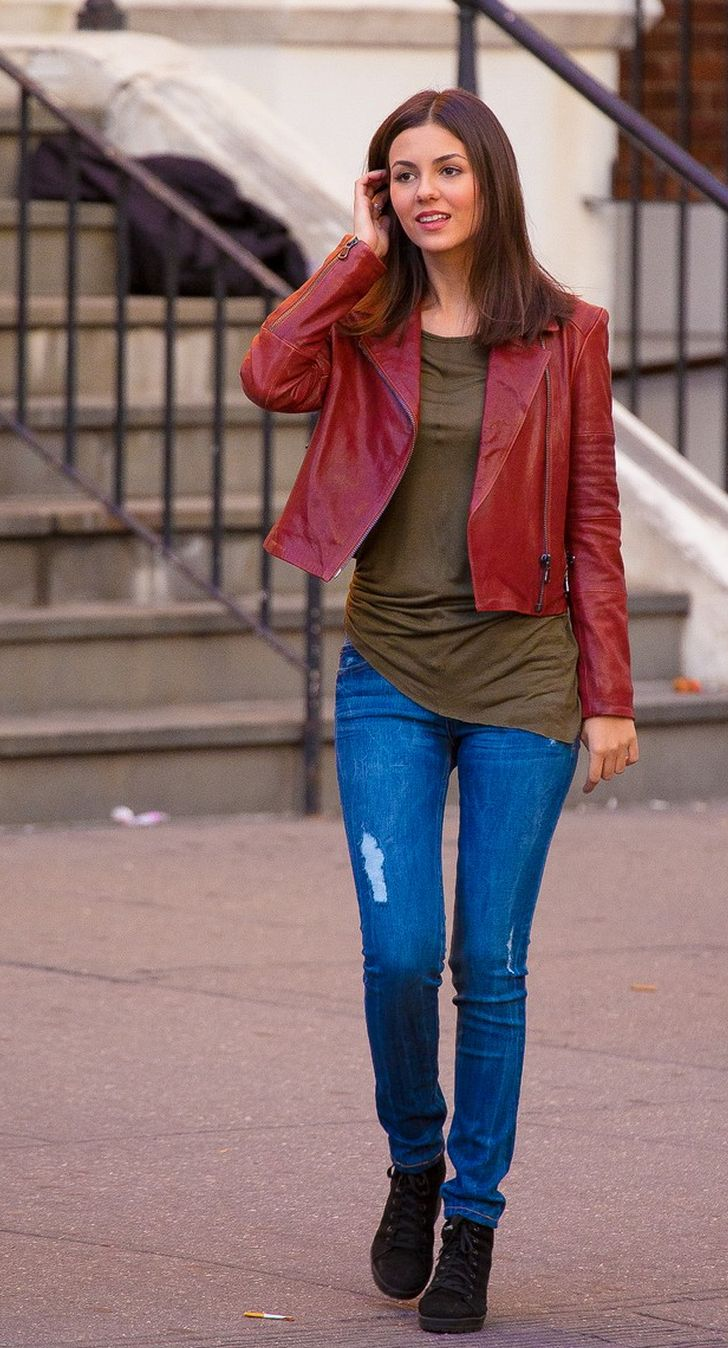 Leather jacket victoria - Victoria Justice In Aiah Leather Jacket In Raw Sienna Jbrand