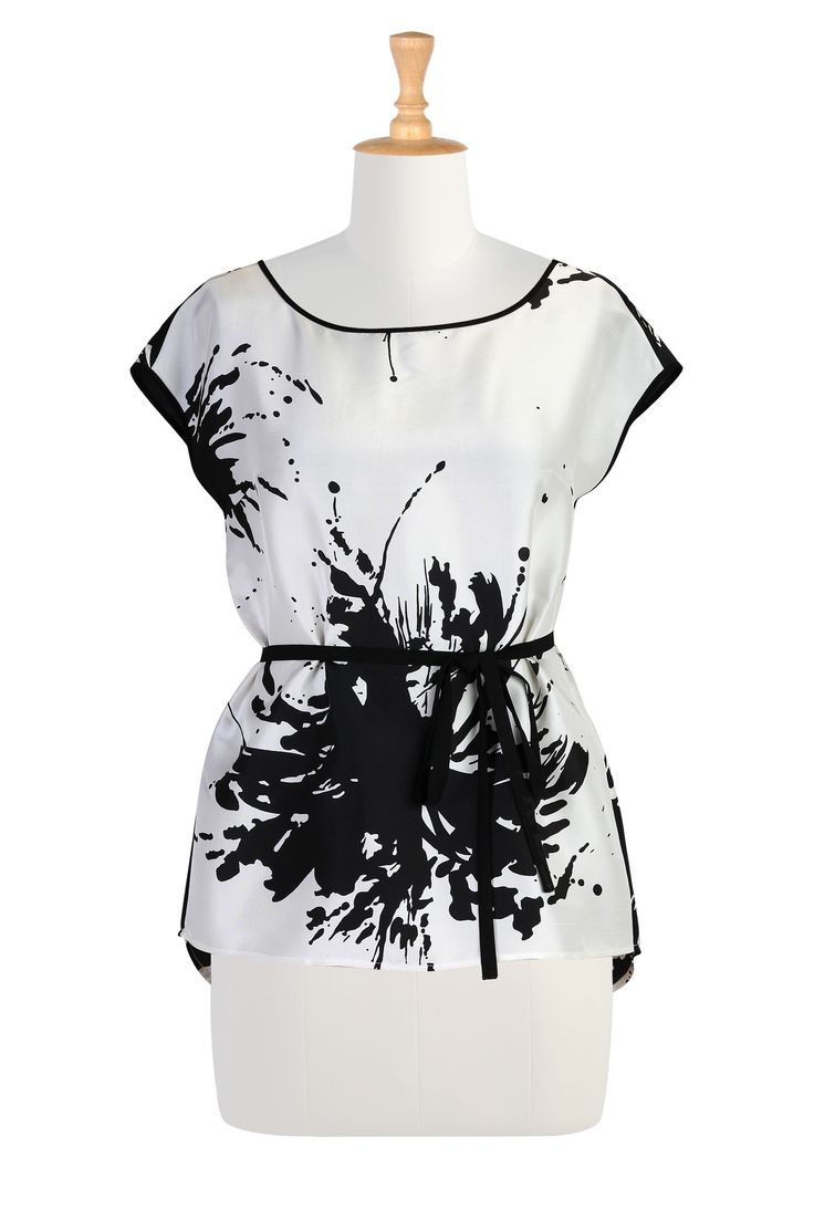 Black And White Clothing, Women Apparel Plus Size Womens designer clothing - Womens Blouses - Ladies Going Out Tops, Plus Going Out Tops, Halter Tops -   eShakti.com
