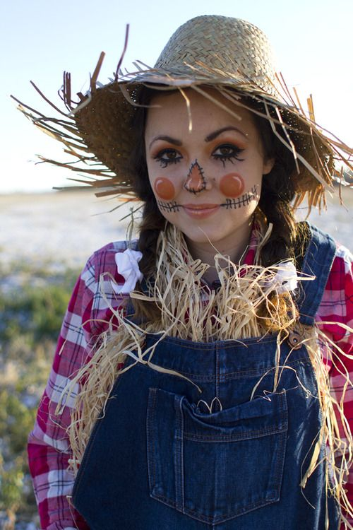 I like some of these makeup elements. Scarecrow halloween costume & makeup tutorial via Kastles