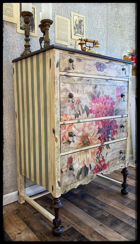 SOLD~ Hand painted antique floral dresser