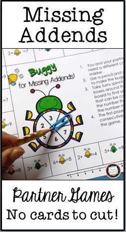 Are your students struggling with missing addends? Try this set of eight partner games for sums through ten. Easy prep - each game is just one page with no cards to print or cut!