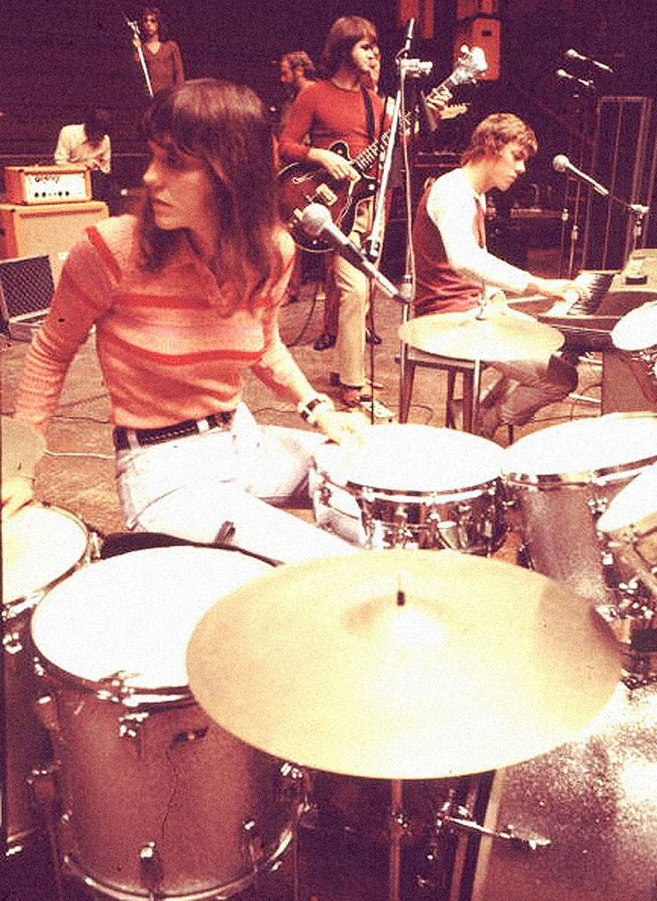 The Carpenters in London, 1972. Karen Carpenter on drums and her brother Richard on keyboards.