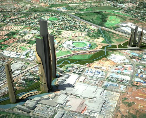 Centurion Symbio City Project proposal for Centurion, Pretoria, South Africa. Upon completion, the tallest of the towers would reach 110 storeys - officially claiming the title of the tallest tower in Africa.