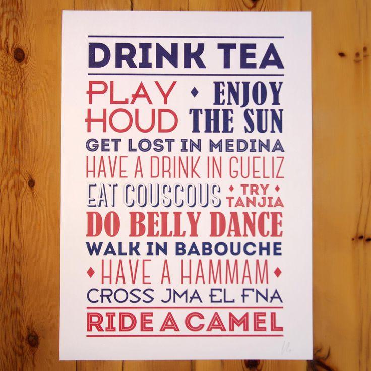Affiche typographique design de deco murale à marrakech dispo sur http www