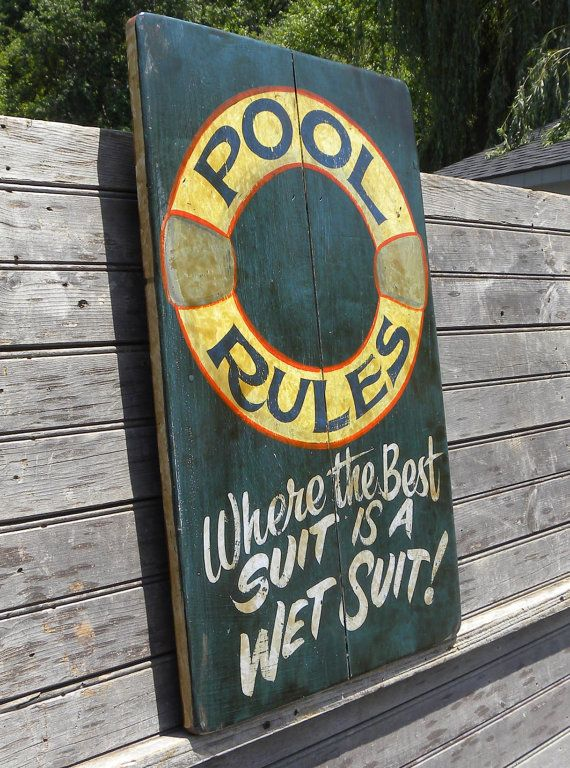 Swimming pool rules sign wooden outdoor original sign for Outdoor decorative signs
