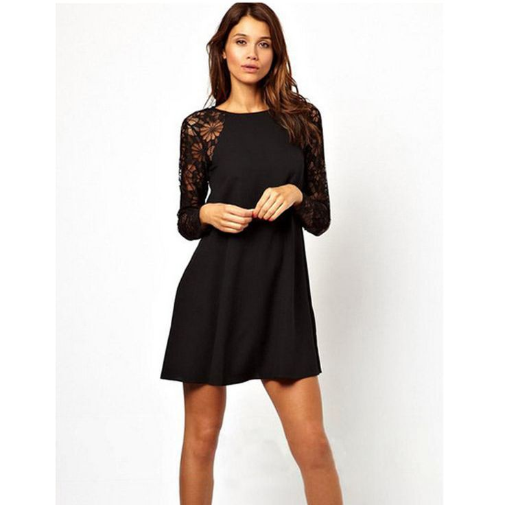 Lange jurk zwart kant