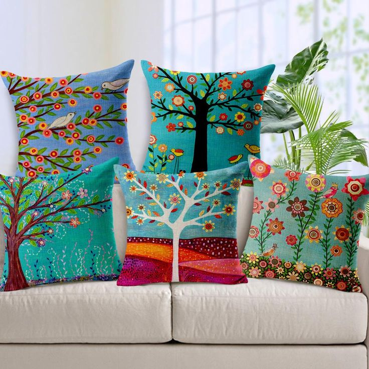 Amazing 28 Styles Pastoral Flowers Trees Bird Cushion Covers Tropical Plants Green  Leaves Cushion Pillow Cover Sofa Linen Cotton Pillow Case Gift