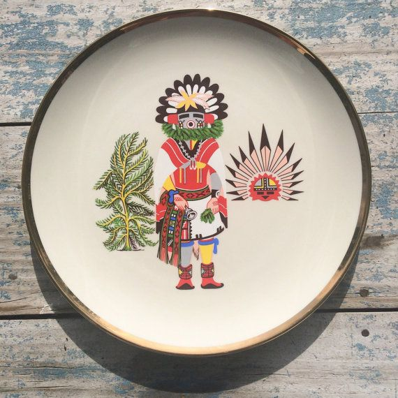 Vintage Morning Kachina 1970s decorative plate / by romaarellano