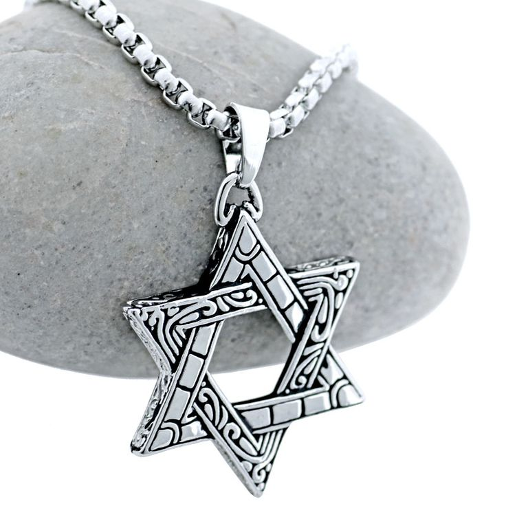 Jewish Jewelry Star of David Pendant Necklace Stainless Steel Israel Star Amulet Necklace Fashion Male Jewelry