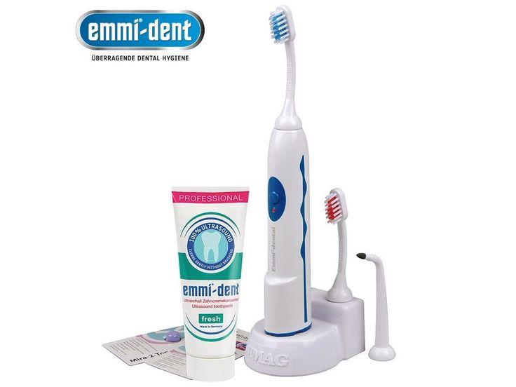 Ultrazvukový kartáček Emag Emmi-dental Pro ultrazvukový kartáček. 100% čistá ústa bez poškození třením 100% bezpečný pro vaši sklovinu a dásně Chrání zubní krčky před obnažením Dokonale účinný proti špatnému dechu Není třeba mechanického kontaktu...