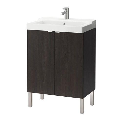 LILLÅNGEN / TÄLLEVIKEN Sink cabinet with 2 doors, black-brown black-brown 23 5/8x16 1/8x34 1/4